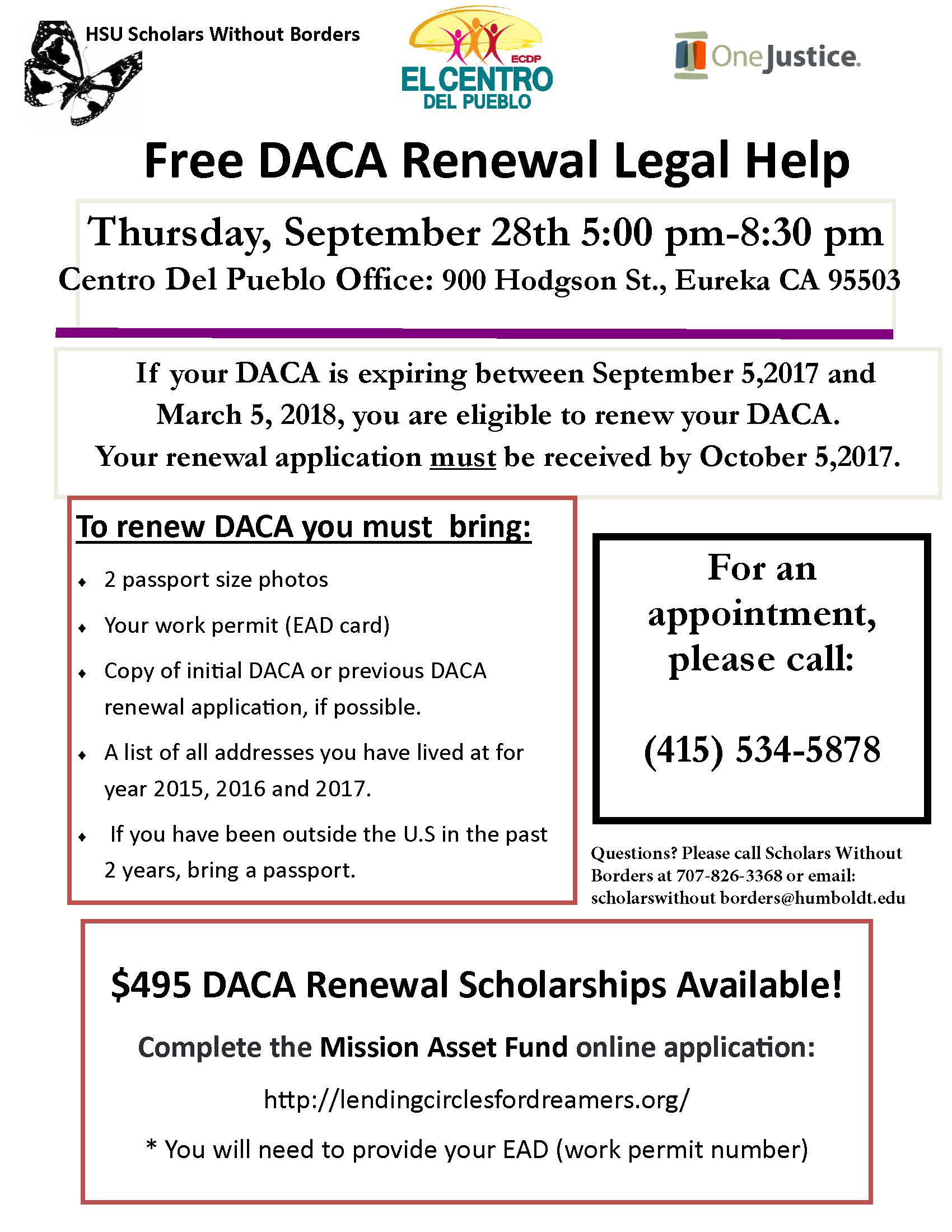 Free DACA Renewal Clinic to be Held in Eureka on September